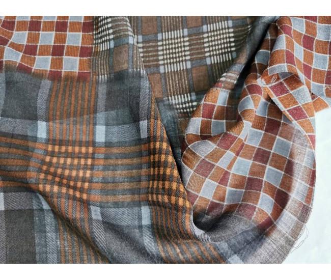 Плательно-блузочная шерстяная  марлевка с печатью
