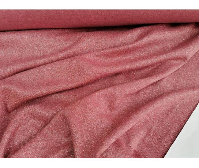 Двусторонний трикотаж, одна сторона с метанитью, цвет брусничный