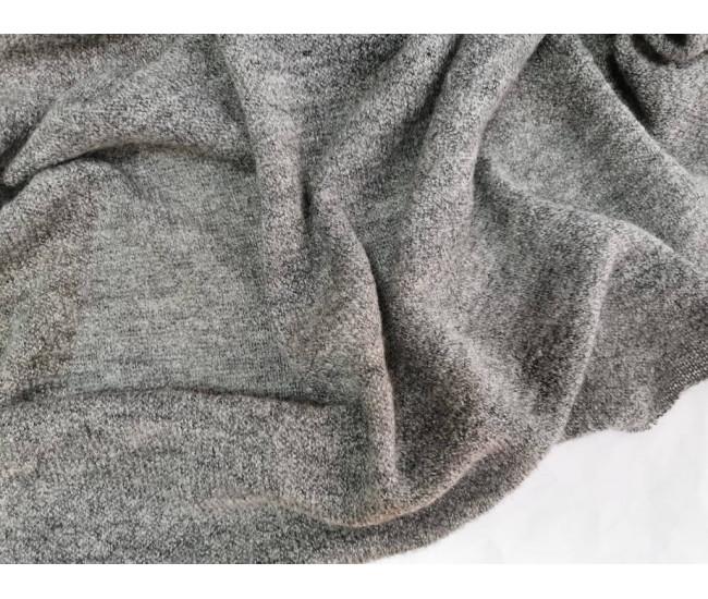 Вязаный трикотаж, цвет серый меланж (тёплый оттенок)