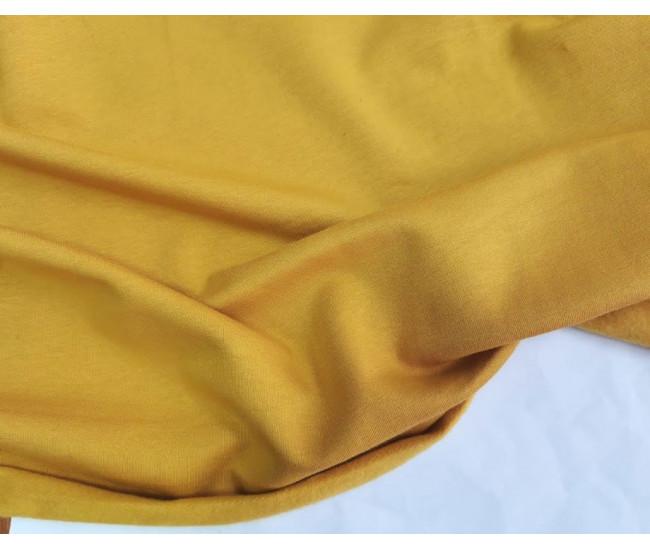 Хлопковый футер с начесом, цвет жёлто-горчичный