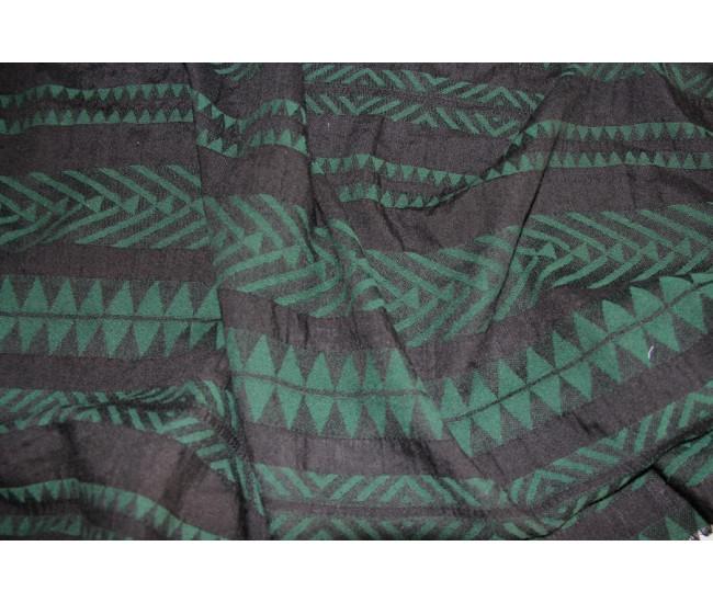 Плательная ткань жаккардового переплетения,  цвет черный/зелёный,