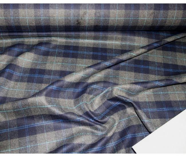 Пальтовая ткань в клетку, цвет серо-синий.