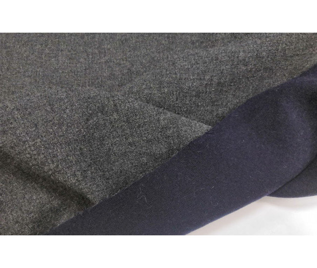 Пальтовая двойная двусторонняя ткань стрейч , цвет серый меланж+темно-синий