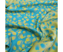 Костюмно-плательный двусторонний жаккард,  цвет желтый+тиффани