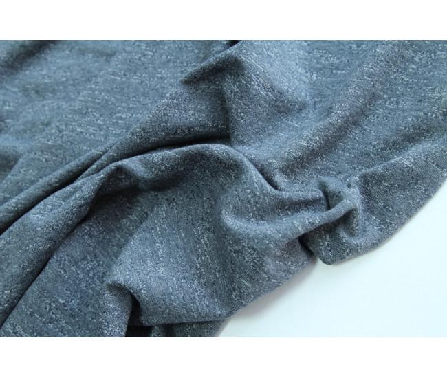 Костюмный футер меланж,   цвет серо-синий типа деним