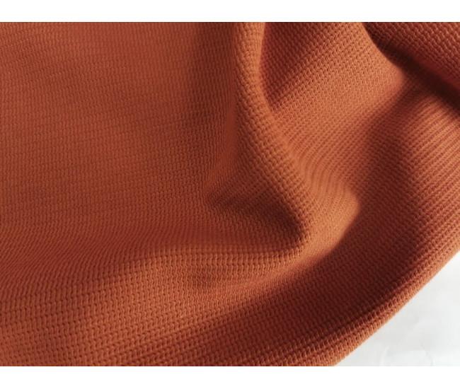 Жаккардовый костюмно-плательный трикотаж - джерси. Цвет терракот. остаток 1,2м+1,95м