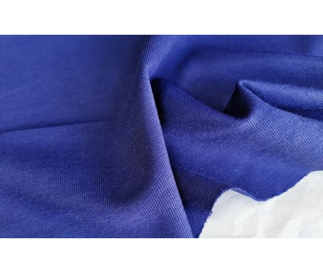 Жаккардовый костюмно-плательный трикотаж - джерси. Цвет индиго синий.