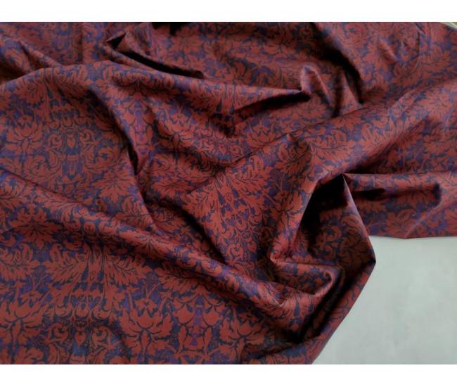 Плательно-рубашечный  хлопок стрейч с  печатью Etro. Цвет индиго-винный.