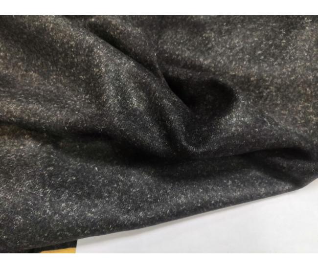 Костюмно-плательный двусторонний шерстяной трикотаж-джерси.  Цвет серый меланж / синий.