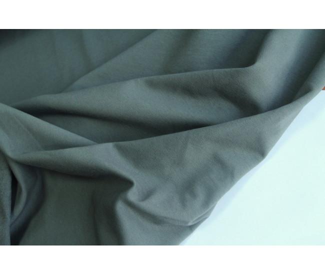 Хлопковый футер ,изнанка петля,  цвет сложный серый с  зеленоватым оттенком