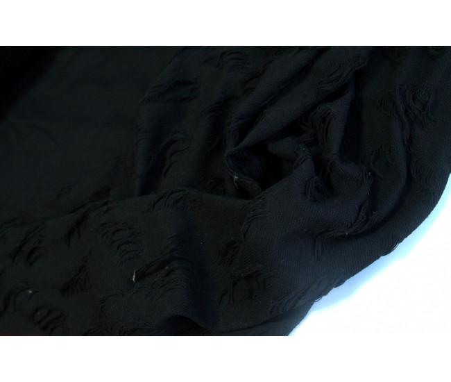 Хлопковый футер с декоративными дырками,  цвет черный
