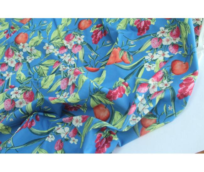 Плательно-рубашечный хлопок с печатью,  фон темно-голубой