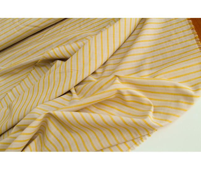 Плательно-рубашечный тонкий хлопок  в полоску, цвет светло-бежево-желтый