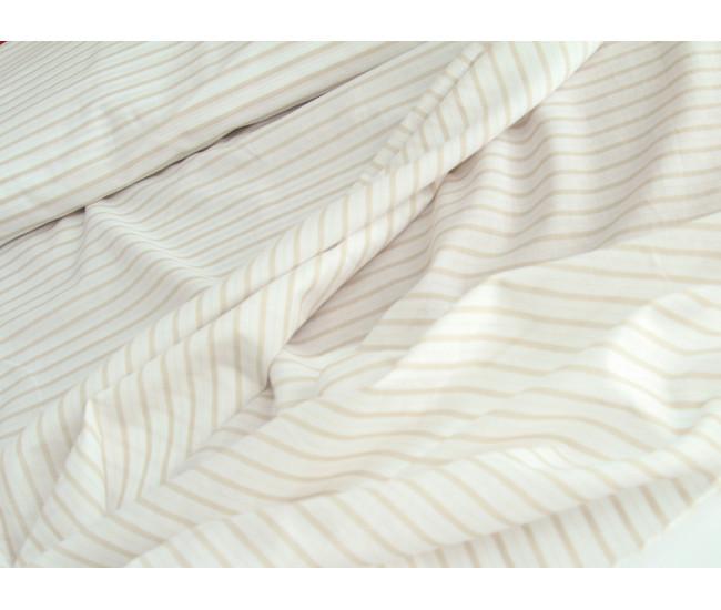 Плательно-рубашечный тонкий хлопок  в полоску, цвет молочно-бежевый. Отрез 1,9м