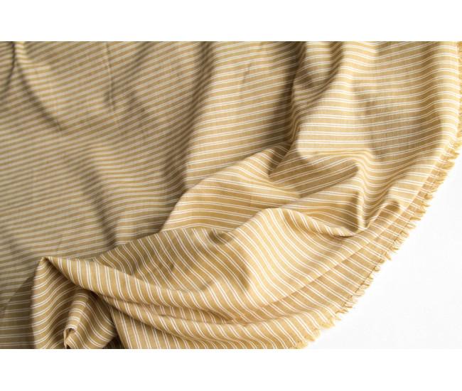 Плательно-рубашечный тонкий хлопок  в полоску, цвет горчичный. Остаток 6,7м.