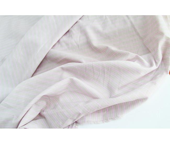 Плательно-рубашечный тонкий хлопок в полоску,  цвет серо-сиреневый