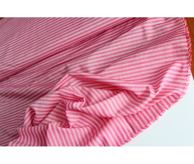 Плательно-рубашечный тонкий хлопок в полоску,  цвет розово-молочный