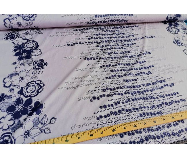 Плательно-рубашечный  хлопок с печатью,  купонный рисунок вдоль обеих кромок