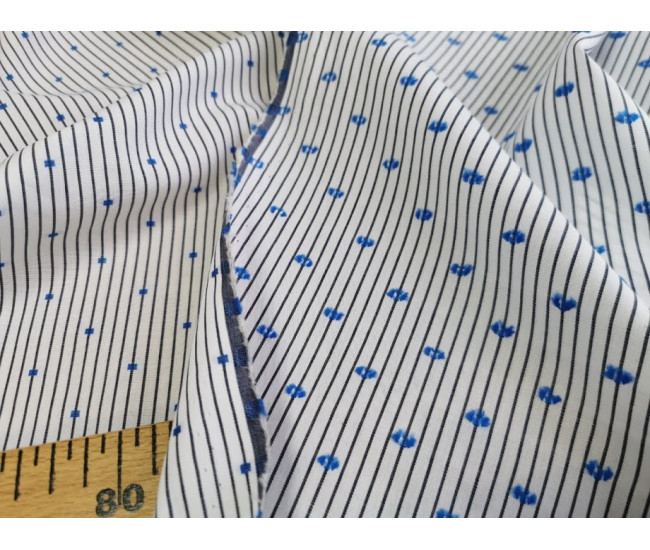 Плательно-рубашечный двусторонний хлопок с печатью,  фон белый