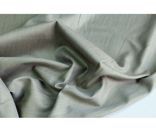 Рубашечный жаккардовый хлопок в еле-заметную елочку,  цвет серо-оливковый