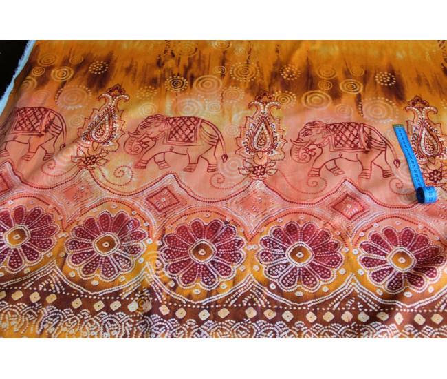 Плательно-рубашечный хлопок с печатью.   Цвет фона оранж.