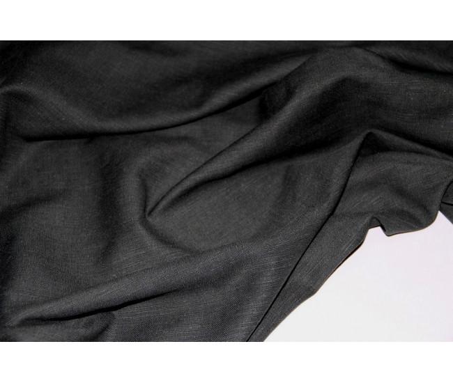 Костюмно-плательная ткань (конопля 50%,вискоза 50%),   цвет  чёрный