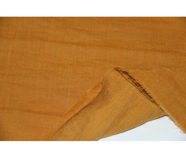 Костюмно-плательная двухслойная ткань,слои разделяются (тенсель 40%,лен 30%,хлопок 30%), цвет яркая горчица