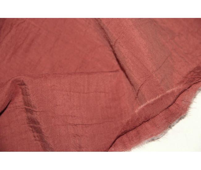 Костюмно-плательная двухслойная ткань,слои разделяются,    (тенсель 40%,лен 30%,хлопок 30%),   цвет красно-терракотовый