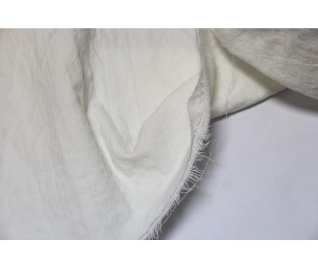 Костюмная двухслойная ткань,слои разделяются,   (лен 50%,хлопок 50%),   цвет молочный