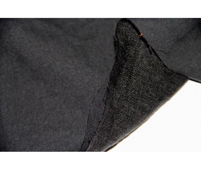 Костюмная двухслойная ткань,слои разделяются,   (лен 50%,хлопок 50%),   цвет чёрный Остаток 1,45м