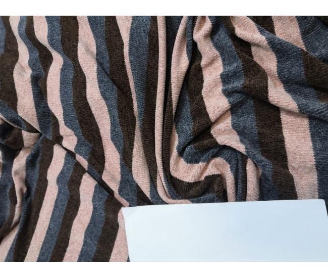 Велюровый трикотаж, Отрез 3,55м.  цвета коричневый, серый, розовая пудра,