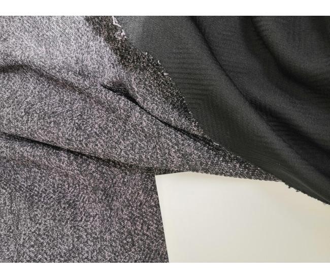 Костюмно-плательный жаккардовый трикотаж, отрез 1,85м.,  цвет серо/черный, с оттенком клевера меланж.