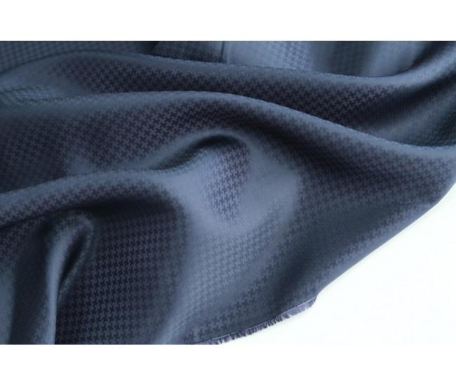 Жаккардовая подкладочная ткань,  цвет приглушенный чернильно-синий