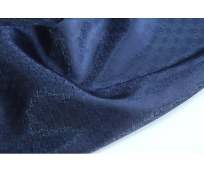Жаккардовая подкладочная ткань,  цвет чернильно-синий