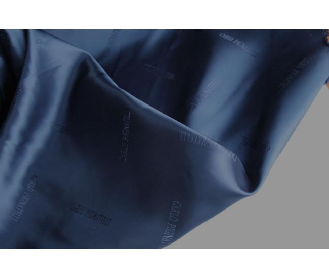 Жаккардовая подкладочная ткань Carlo Pignatelli,  цвет темно-синий
