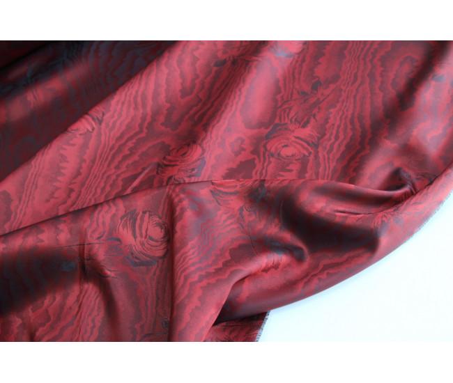 Жаккардовая подкладочная ткань,  цвет красно -черный