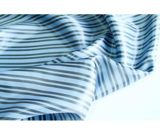 Подкладочная ткань в полоску, полоска поперек кромки,  цвет серо-голубой