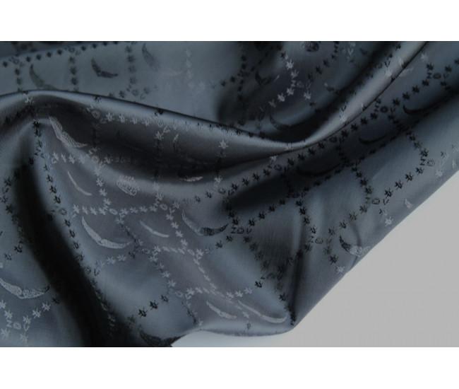 Жаккардовая подкладочная ткань,  цвет черно-серый