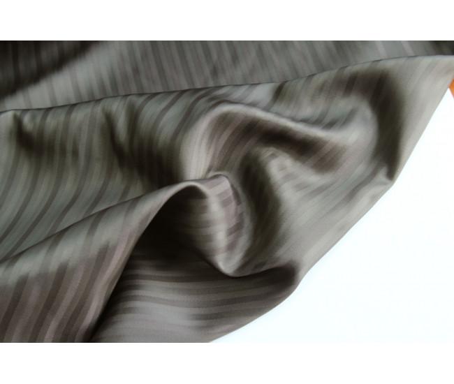 Жаккардовая подкладочная ткань в полоску, полоска вдоль кромки,  цвет серый