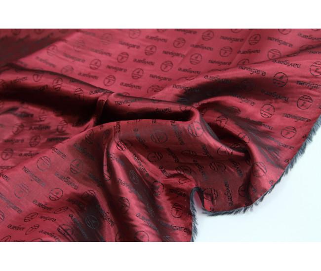 Жаккардовая подкладочная ткань,  цвет малиново-черный