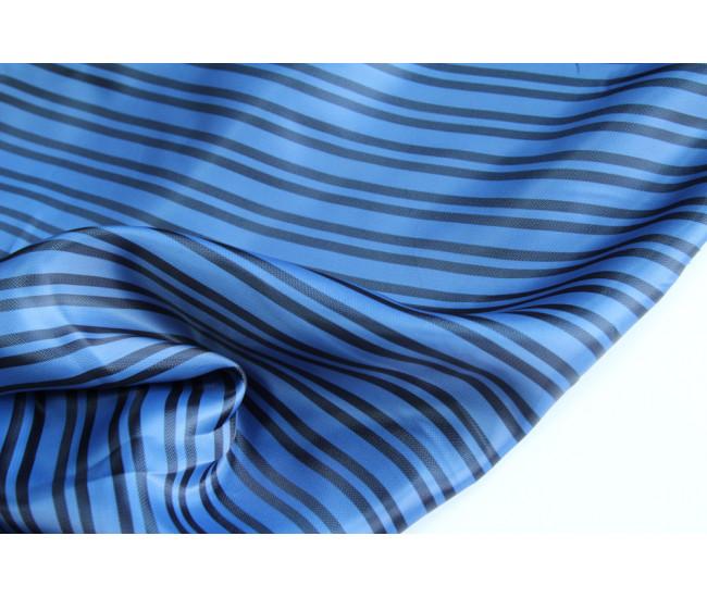 Подкладочная ткань в полоску, полоска поперек кромки,  цвет темно-голубой-черный