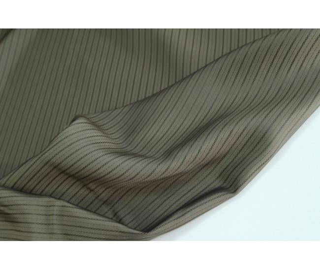 Подкладочная жаккардовая ткань в полоску, полоска вдоль  кромки,  цвет кофе с молоком