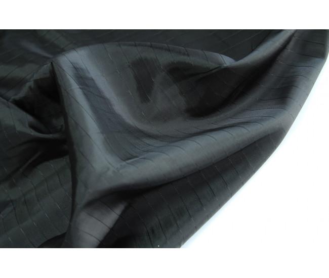 Подкладочная жаккардовая  ткань в полоску ,  цвет черный