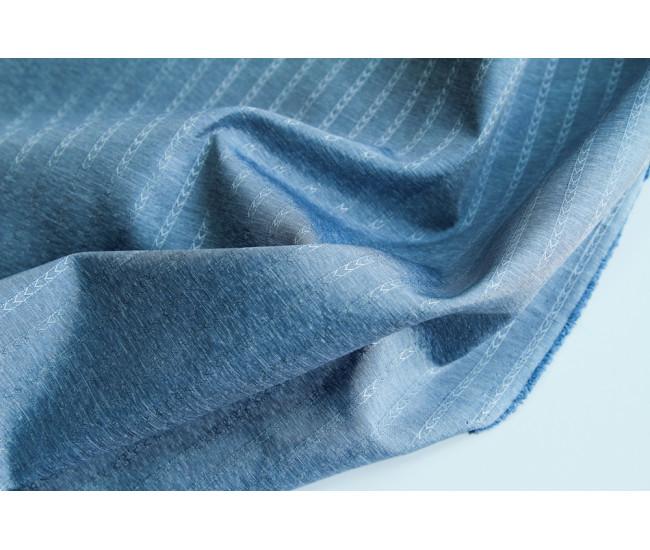 Подкладочная жаккардовая  ткань ,  цвет голубой меланж
