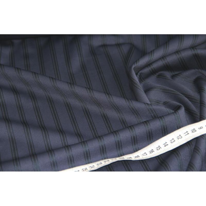 Трикотаж пунтомилано  в полоску,  цвет темно-синий