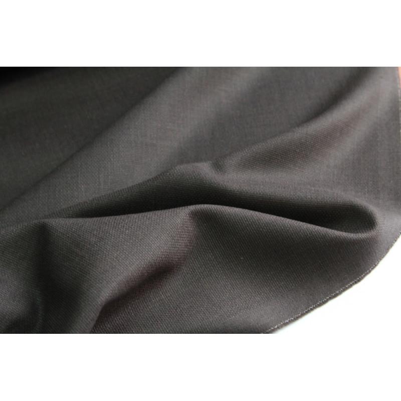 Костюмно-плательная ткань шерсть-шелк  Zegna,  фактура рогожка , цвет темный шоколад
