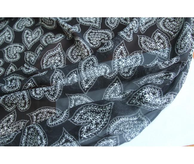 Плательно-блузочный вискозный шелк с печатью,  фон черный