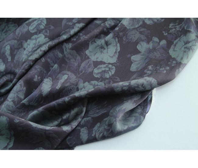Плательно-блузочный вискозный шелк с печатью,  цвет сине-серый