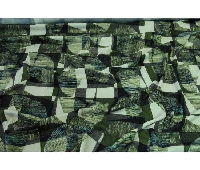Плательно-блузочная  вискоза, фактура  креп,  фон оливковый