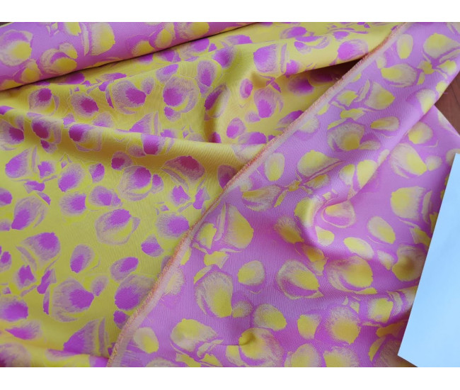 Костюмно-плательный двусторонний жаккард,  цвет желтый+розовый